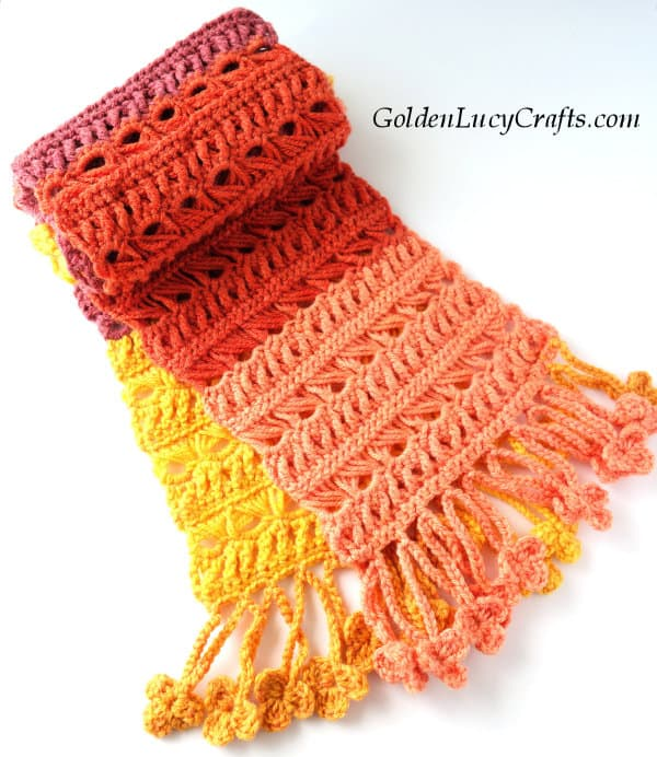 Crochet scarf free pattern, Sunset Flame scarf, broomstick lace scarf