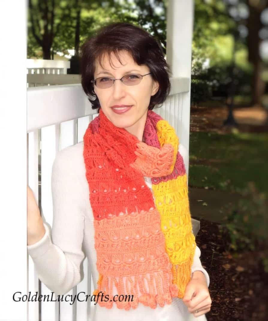 Crochet women's scarf free crochet pattern, Sunset Flame crochet scarf, broomstick lace scarf, Caron Cakes crochet scarf