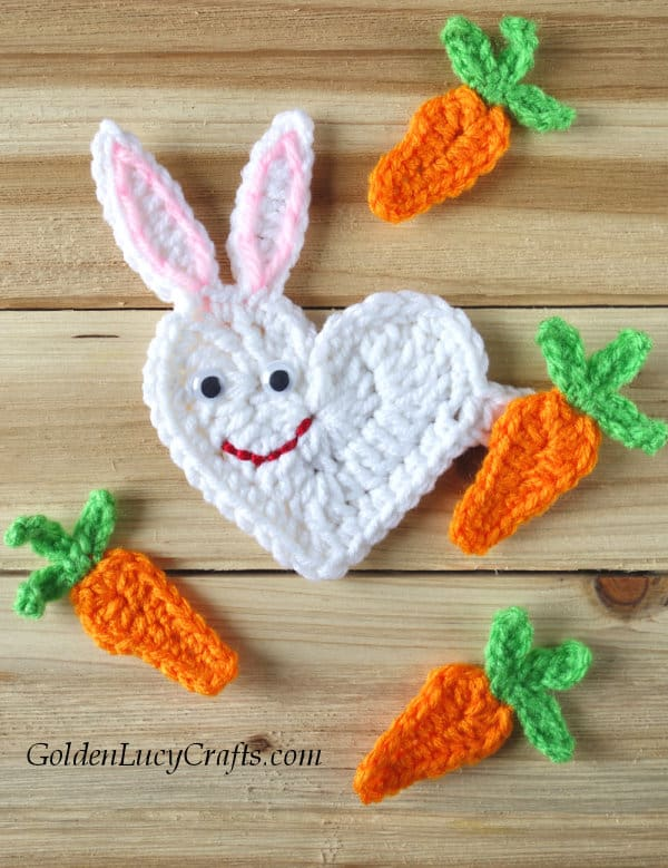 Easter crochet pattern, bunny free crochet pattern, heart bunny, bunny crochet applique