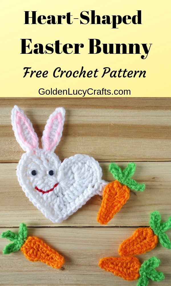 Crochet Easter bunny, heart shaped bunny, free crochet pattern