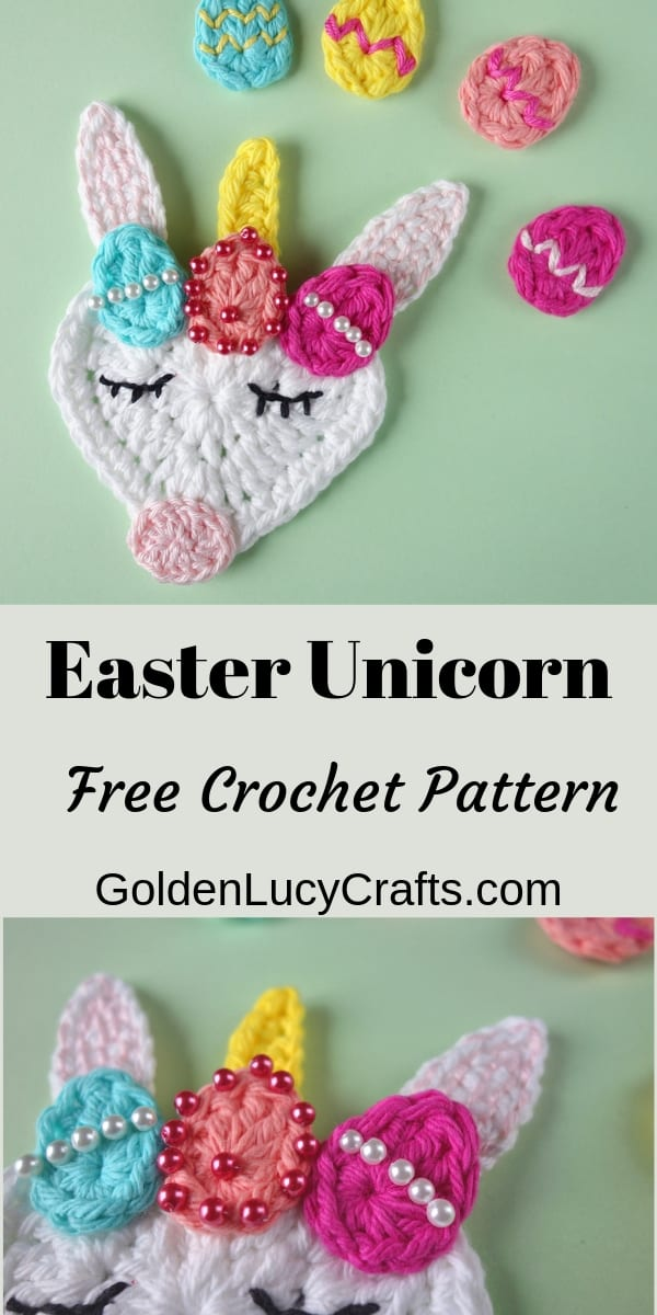 Easter unicorn crochet pattern free, crochet Easter applique