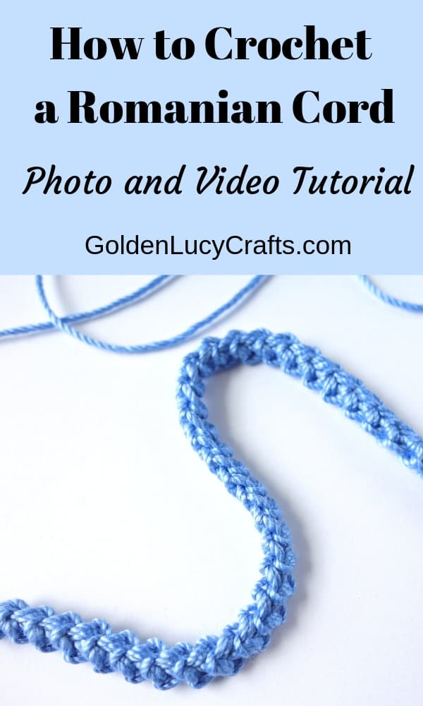 How to crochet Romanian cord photo and video tutorial, romanian corde, crochet cord, crochet ribbon