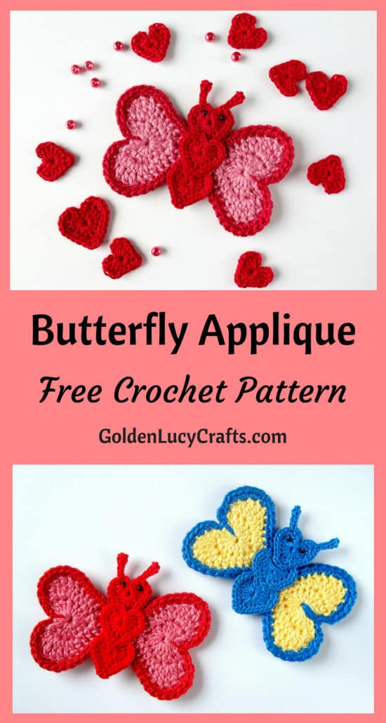 Crochet butterfly applique, free crochet pattern