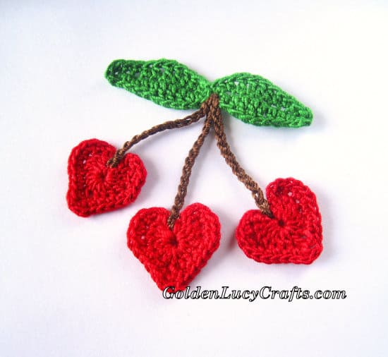 Crochet Cherries applique - part of Summer crochet applique collection