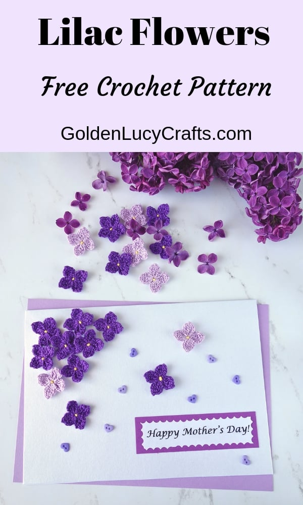 Crochet Lilac Flowers, Mother's Day Card with Lilac Flowers