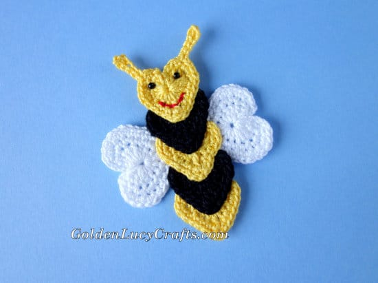 Crochet bee applique