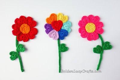 Crochet flowers hearts