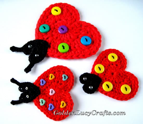 Crochet ladybug applique - part of summer crochet applique patterns collection