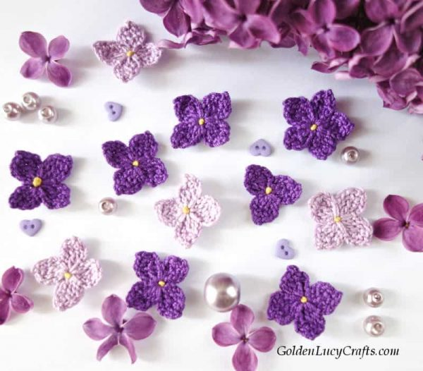Crochet lilac applique, lilac crochet pattern free