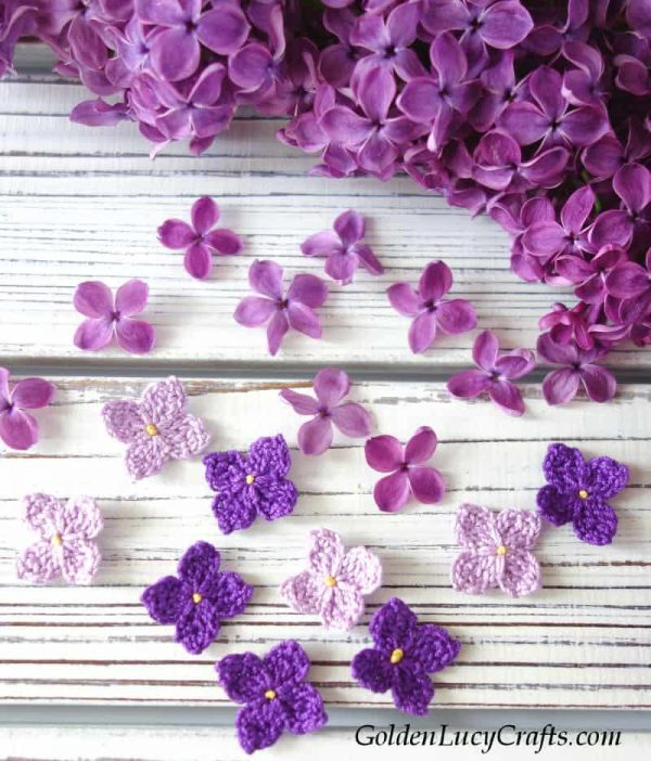 Crochet lilac, crochet flowers, free crochet pattern