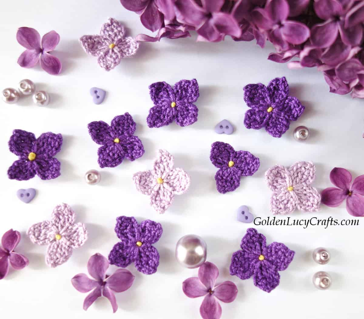 Crocheted and real lilac flowers, beads, mini heart buttons.