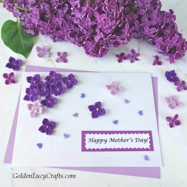 Crochet lilac for a handmade Mother's Day card, lilac crochet pattern
