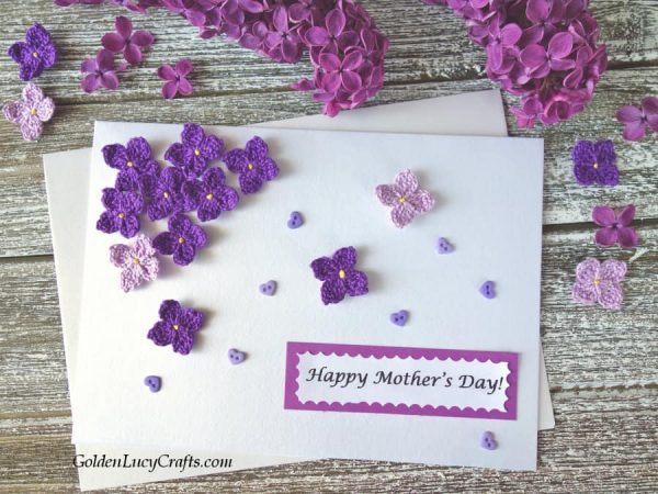 Mother's day card with lilac flowers, lilac crochet pattern