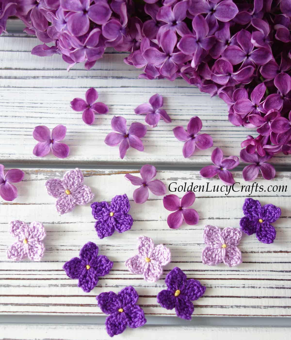 Crochet lilac and real lilac flowers.