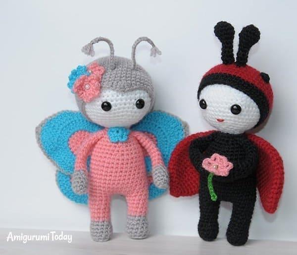 Butterfly baby rattle crochet pattern | Virkmönster, Virka skallra ... | 515x600