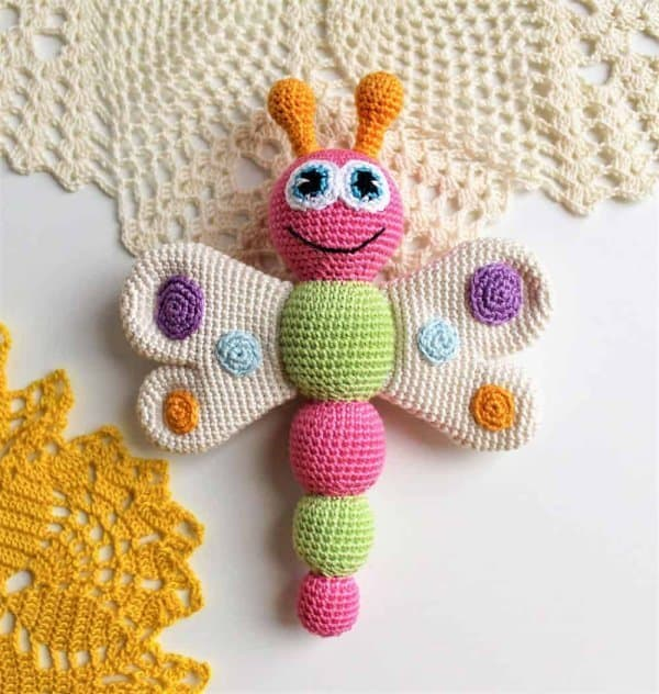 Butterfly rattle - part of butterfly free patterns collection