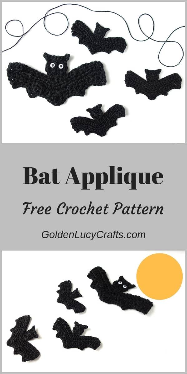 Crochet Bat applique, crochet Halloween applique, crochet Halloween bat, Halloween decoration