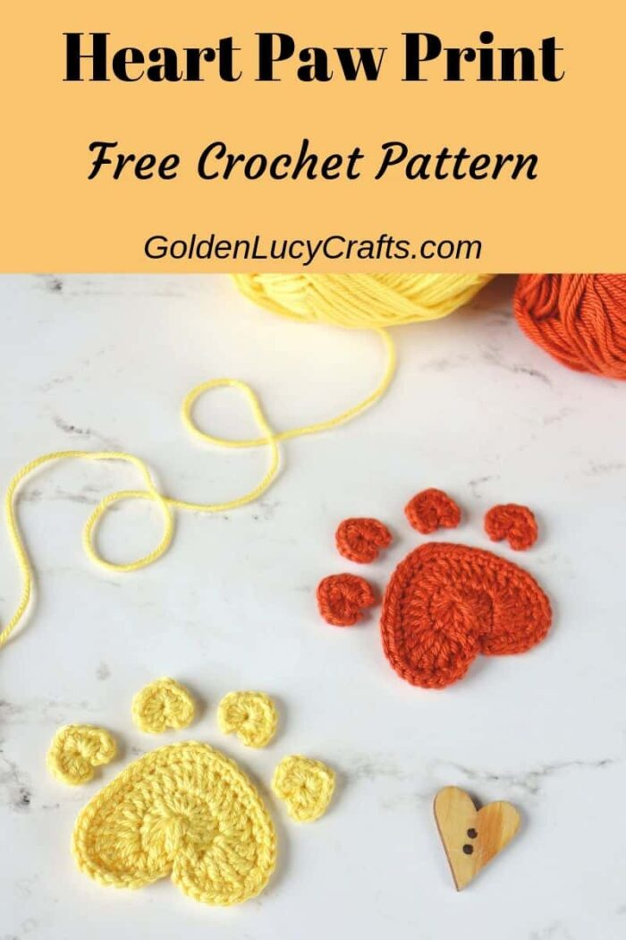 Crochet Heart Paw Print applique, free crochet pattern, crochet for dog