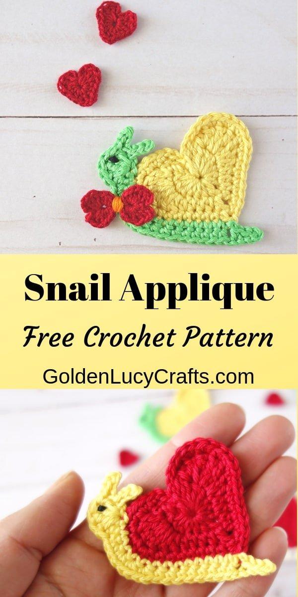 Crochet Snail applique, heart snail, valentine's snail, free crochet pattern
