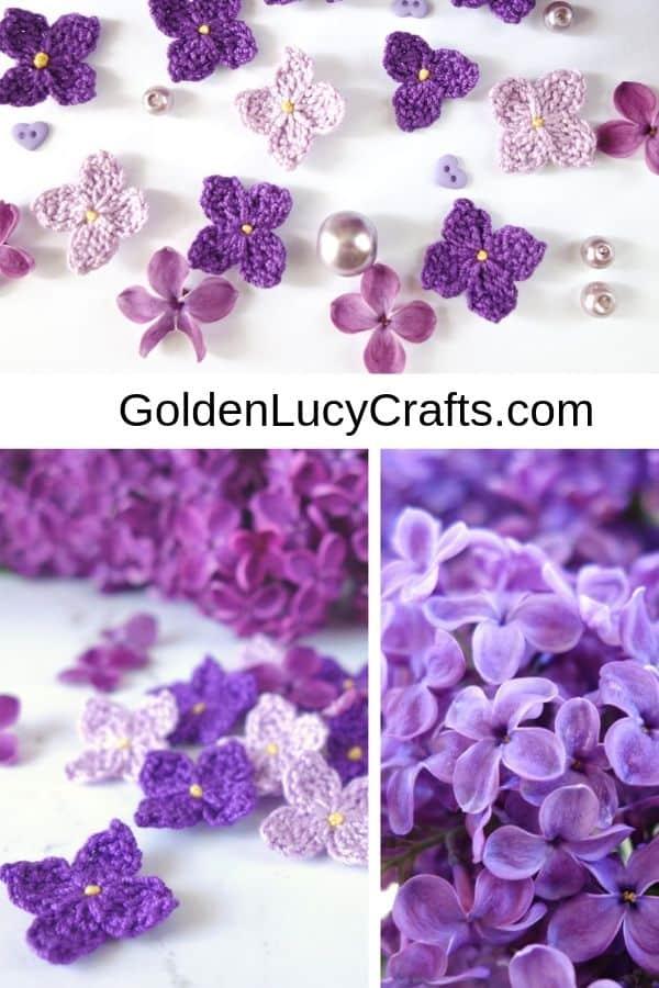 Easy crochet flower free pattern, crochet lilac flowers