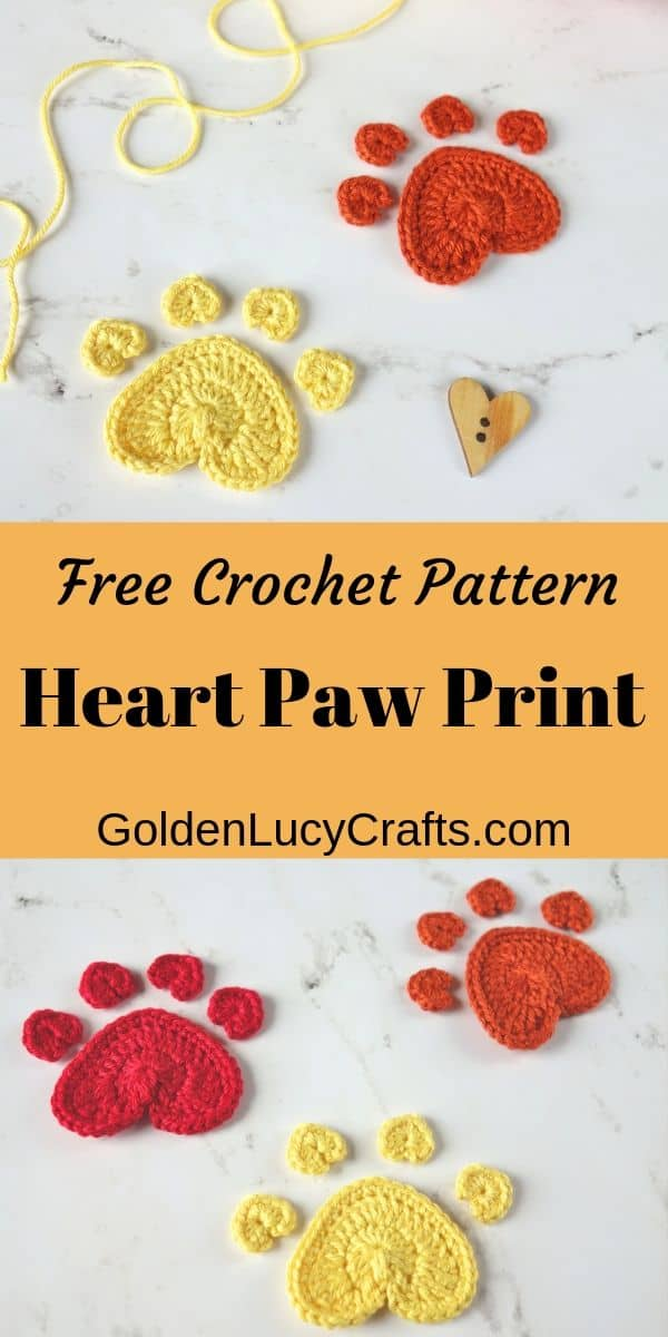 Crochet Heart paw print applique, paw print free crochet pattern, how to crochet a paw print, crochet for dogs, crochet for pets