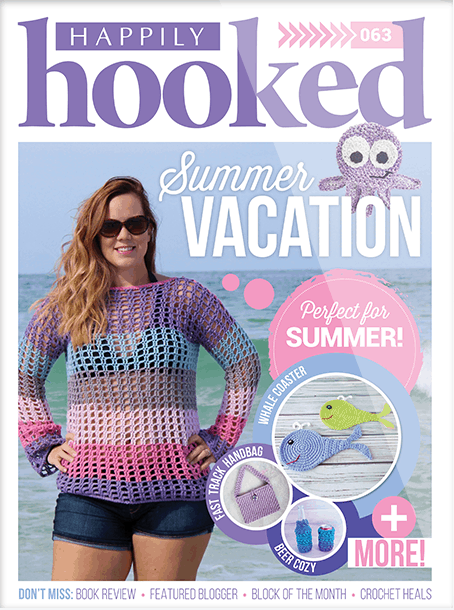 Happily Hooked Magazine, crochet Whale coaster