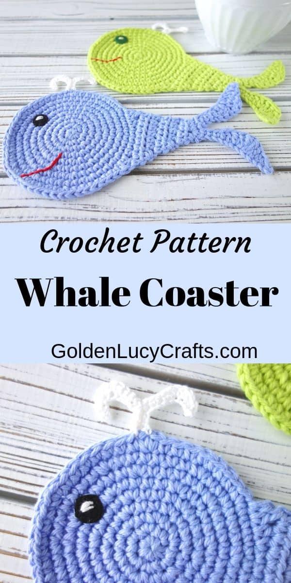 Crochet whale coaster