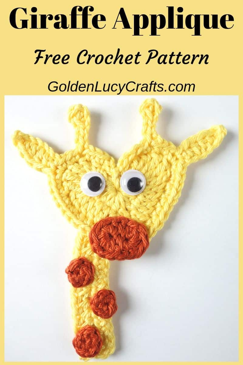 Crochet Giraffe applique, heart-shaped giraffe applique