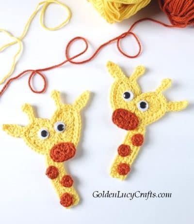 Crochet giraffe applique, giraffe free crochet pattern