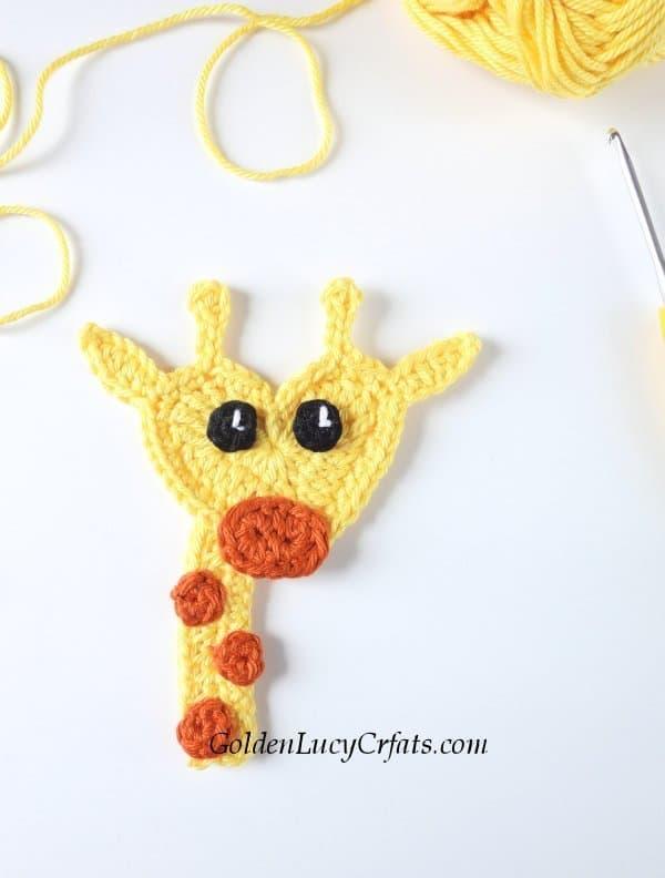 Crochet giraffe applique, giraffe crochet pattern free