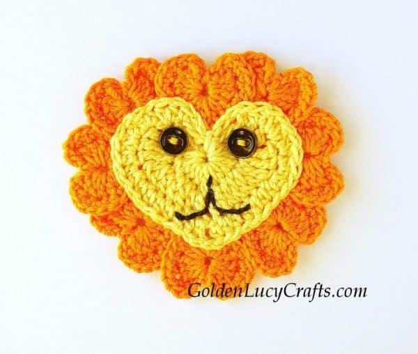 Crochet lion applique.