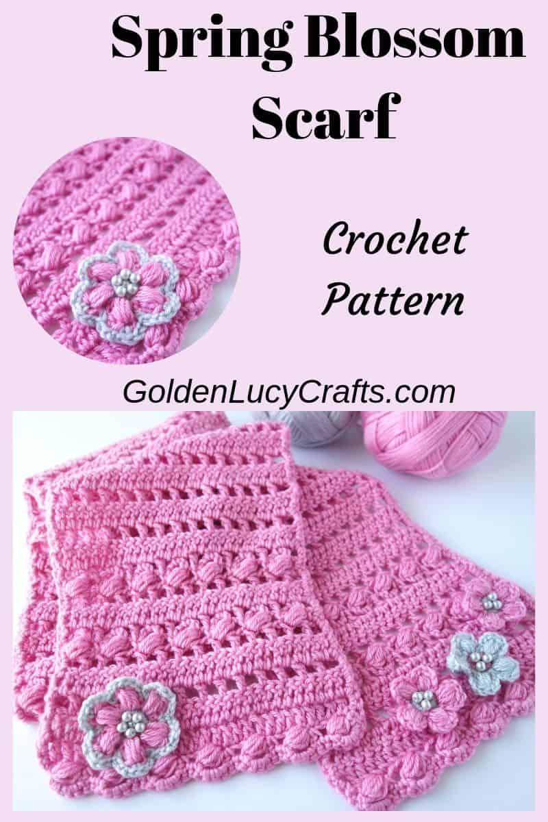 Crochet pink scarf, crochet puff stitch scarf