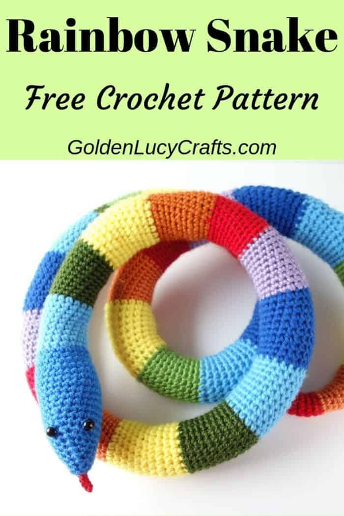 Crochet rainbow snake, crochet toy snake free pattern, amigurumi crochet snake.
