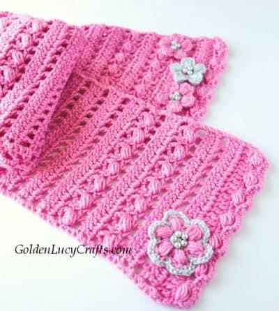 Crochet scarf, crochet puff stitch scarf, crochet pink spring scarf, scarf free crochet pattern