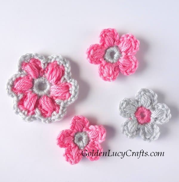 Crochet flowers in pink and grey