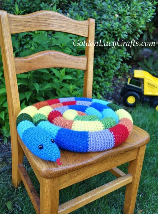 Crochet snake seat cushion, kid's seat pad