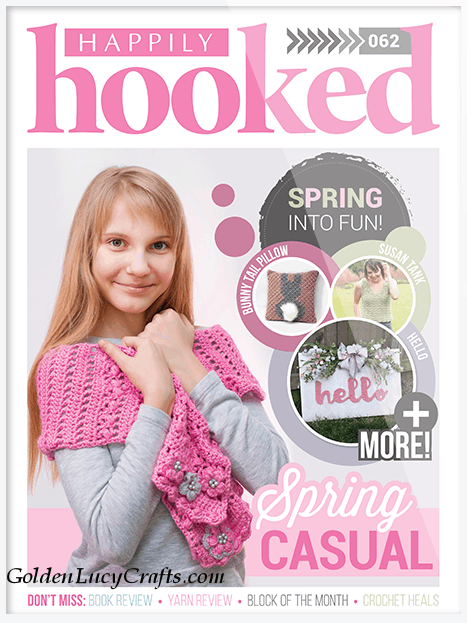 Crochet spring scarf, crochet pink scarf, Happily Hooked Magazine
