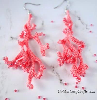 Crochet coral earrings, handmade earrings, crochet pattern