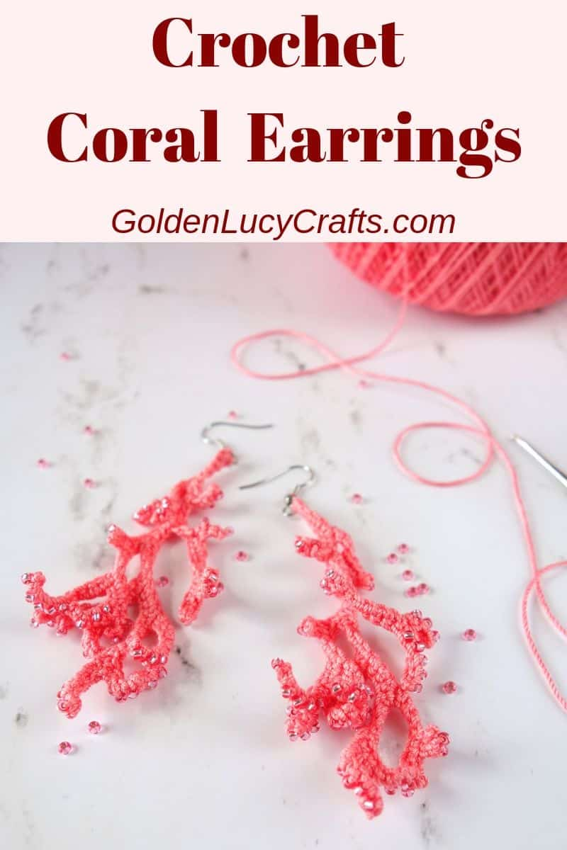 Crochet coral earrings, handmade earrings, free pattern