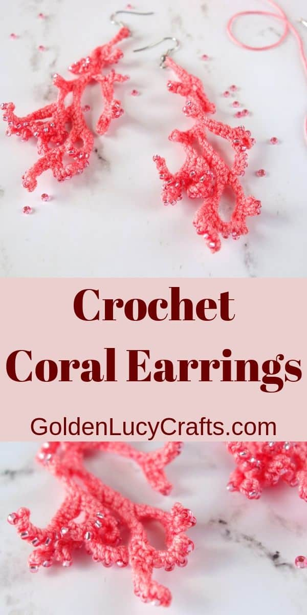 Crochet earrings, coral earrings, handmade jewelry