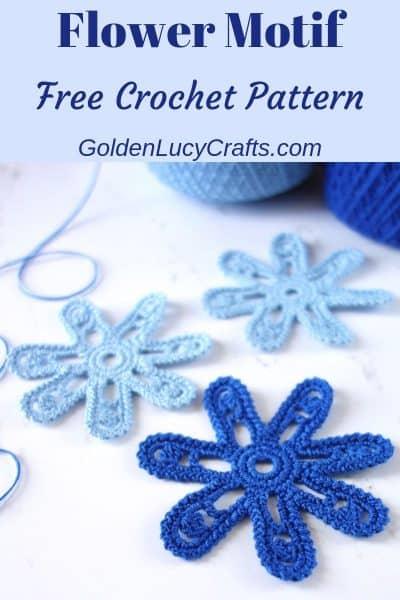 Crochet flower, Irish lace flower motif, free crochet pattern
