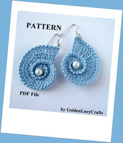 Crochet sea shell earrings