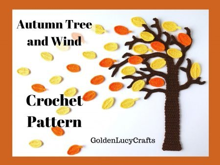 Autumn tree and wind, wall art crochet pattern