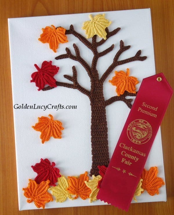 Maple Tree wall art - blue ribbon winning crochet designs, prize winning