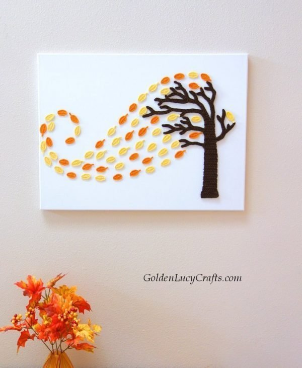 Crochet Autumn tree and wind, tree in a wind, windy tree wall art, wall decor on canvas idea