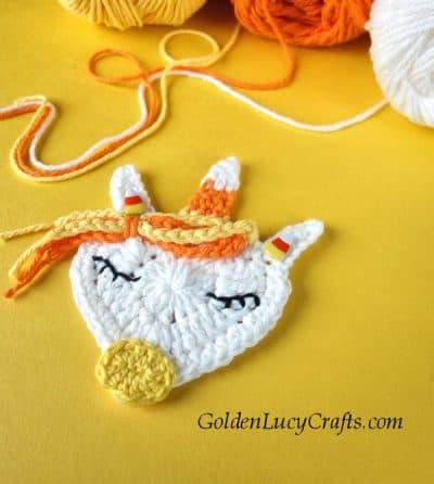 Crochet Halloween applique, candy corn unicorn, free crochet pattern