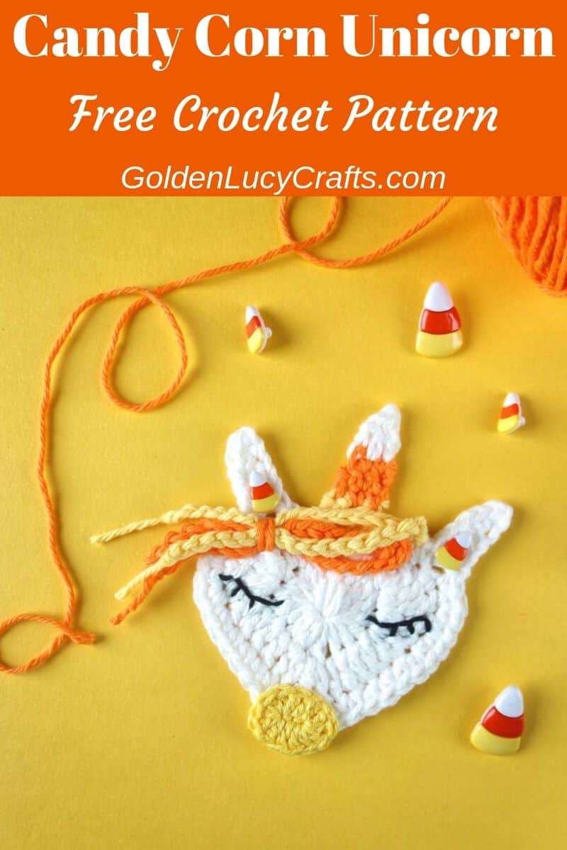 Crochet Halloween applique, crochet candy corn unicorn applique
