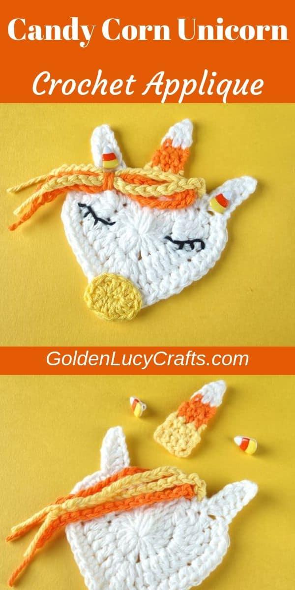 Crochet Halloween applique, crochet candy corn unicorn, free crochet pattern