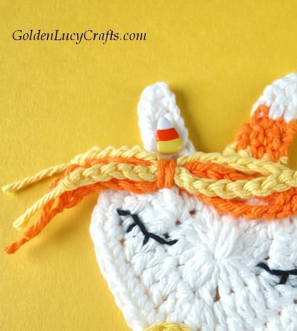 Crochet Halloween applique, decorations, candy corn unicorn, free crochet pattern