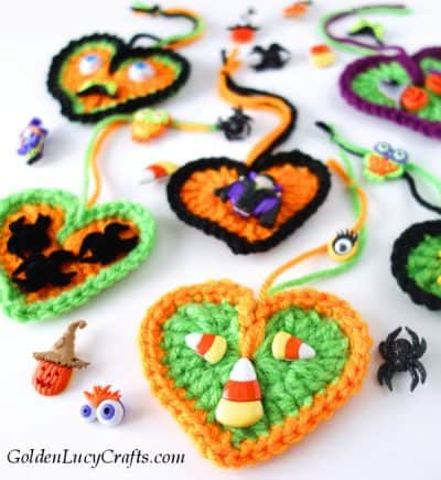 Crochet Halloween decorations, Halloween tree ornaments